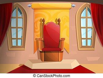 trône, moyen-âge, royal, illustration, dessin animé, vecteur, salle, style