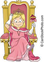 trône, peu, gosse, girl, séance