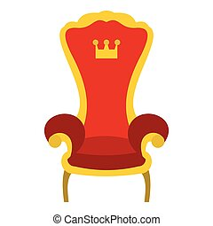trône, plat, style, royal, icône, rouges