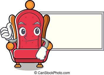 trône, roi, caractère, haut, planche, dessin animé, pouces