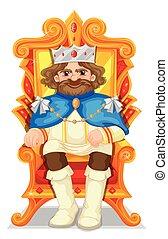 trône, roi, séance