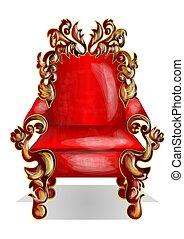 trône, rouges