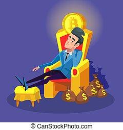 trône, séance, réussi, argent, concept., bitcoin, illustration, cryptocurrency, vecteur, riche, stacks., homme affaires, marché