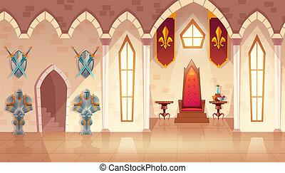 trône, salle, salle bal, royal, vecteur, intérieur, château