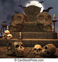 trône, spooky, nuit