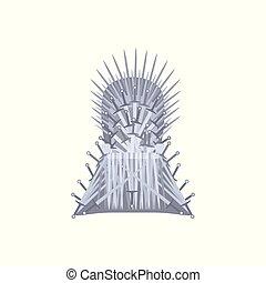 trône, style, vide, fer, dessin animé
