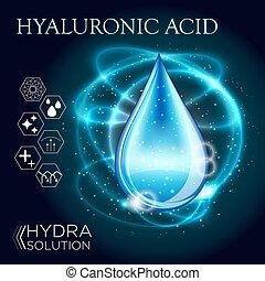 tröpfchen, oel, substanz, hyaluronic, säure, serum, 3d