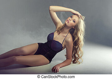 trött, blondin, ivrig, dam, pose, sexig