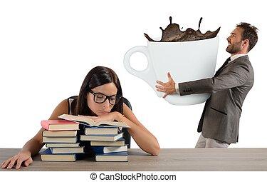 trött, flicka, nödvändigtvis, koffein