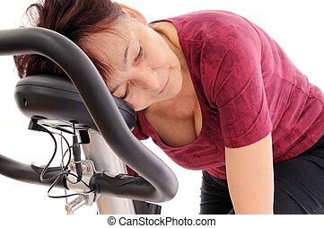 trött, spinning, senior woman
