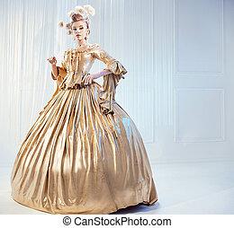 tröttsam, adlig, kvinna, dräkt, gyllene, viktorian, stående