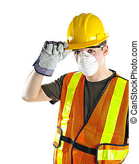 tröttsam, arbetare, konstruktion, säkerhet utrustning