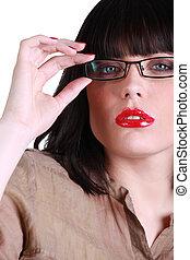 tröttsam, bedöva, kvinna, glasögon
