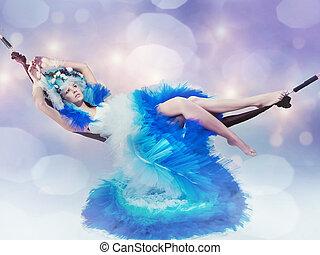 tröttsam, blå, kvinna, klänning, lögnaktig