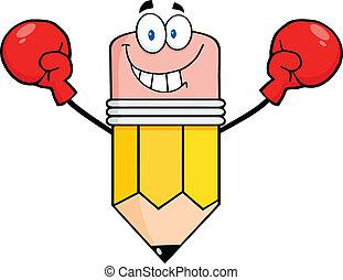 tröttsam, blyertspenna, boxning handske, lycklig