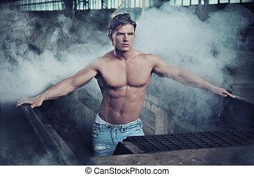 tröttsam, bodybuilder, jeans, stilig