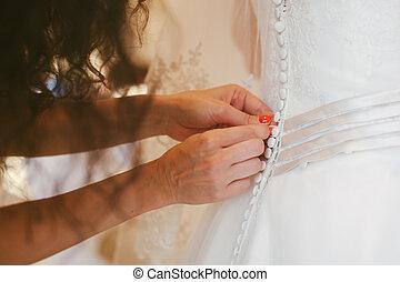 tröttsam, brud, klänning, bröllop