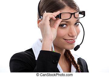 tröttsam, brunett, arbetare, call-center, glasögon