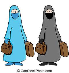 tröttsam, burka, kvinna, muslimsk