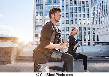 tröttsam, folk, två, dioder, gå, ems, aktiv, sport