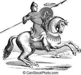 tröttsam, gravyr, häst, riddare, hauberk, årgång
