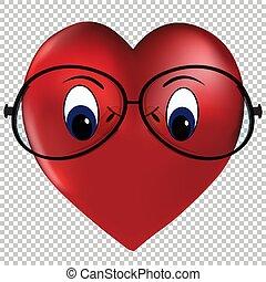 tröttsam, hjärta, vektor, kärlek, glasögon