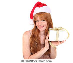 tröttsam, holdingen, gåva, jultomten, redhead, hatt