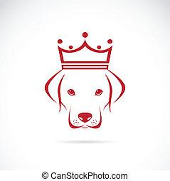 tröttsam, huvud, avbild, krona, hund, vektor
