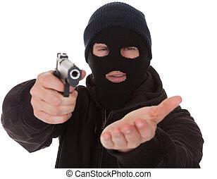 tröttsam, inbrottstjuv, maskera, gevär, holdingen