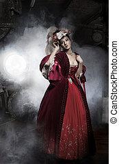 tröttsam, kvinna, gammal, skönhet, format, klänning