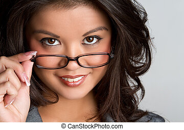tröttsam, kvinna, glasögon