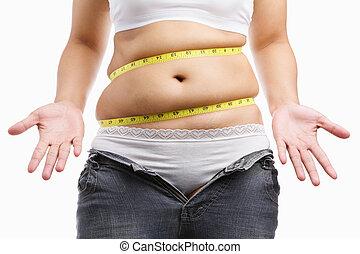 tröttsam, kvinna, henne, skänka, jeans, uppe, fett, snäv