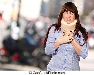 tröttsam, kvinna, neckbrace