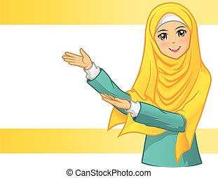 tröttsam, kvinna, slöja, gul, muslimsk