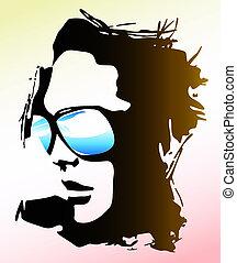 tröttsam, kvinna, solglasögon, illustration