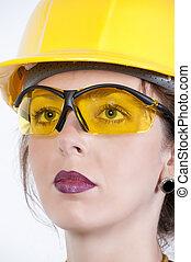 tröttsam, kvinna, säkerhetsexponeringsglas