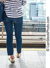 tröttsam, kvinna tillbaka, jeans., synhåll