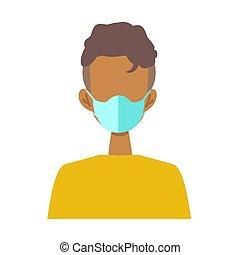 tröttsam, lägenhet, maskera, illustration, kirurgisk, folk, ...