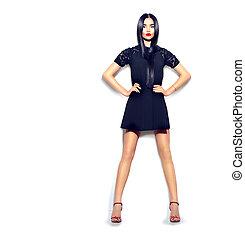 tröttsam, litet, mode, flicka, över, isolerat, bakgrund., längd, fyllda, svart, stående, vita klä, modell