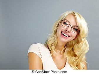 tröttsam, lycklig woman, glasögon