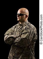 tröttsam, militär, ung man