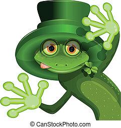 tröttsam, patrick, groda, grön, helgon, hatt
