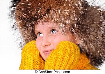 tröttsam, pojke, vinter, ung, beklädnad, lycklig