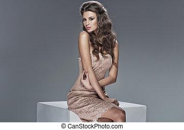 tröttsam, söt, kvinna, ung, flott, klänning