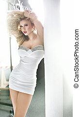 tröttsam, söt, vit, kvinna, klänning