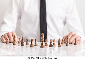tröttsam, skjorta, affär, sittande, avbild, styckena, mörk, begreppsmässig, schack, främre del, vision, man