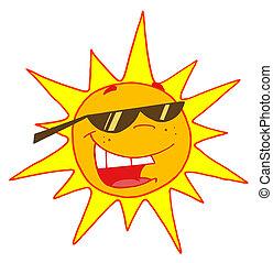 tröttsam, sommar, solglasögoner, sol