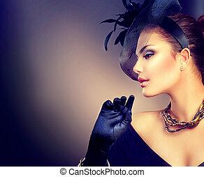 tröttsam, stil, kvinna, årgång, retro, stående, flicka, hatt, gloves.