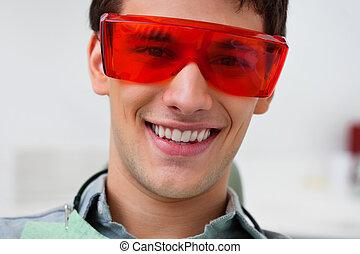 tröttsam, tandläkare, skyddande eyewear, stilig