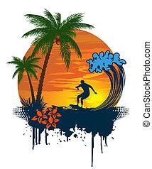 tr, palm, silhouette, surfer